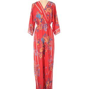 Flying Tomato Jumpsuit Red Floral S Pantsuit